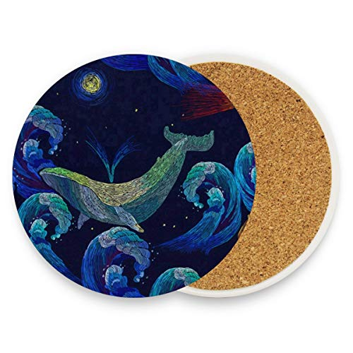 LoveBea Art Sea Wave Whale Coasters, Protect Your Furniture from Stains,Coffee, Drink Coasters Funny Housewarming Gift,Round Cup Mat Pad for Home, Kitchen Or Bar Set of 2