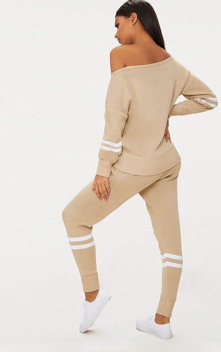 New Ladies Women Long Sleeve Bardot Top Stripe Detail Jogger Knitted Lounge Set
