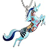 Luckeyui Horse Friendship Necklaces & Pendants Gift for Women Girls Cute Blue Enamel Animal Charm Jewelry