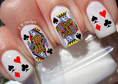 - Playing Cards Vegas Water Nail Art Transfers Stickers Decals - Set of 60