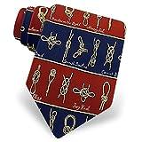 100% Silk Blue & Burgandy Sailing Sailboat Nautical Knots Necktie Tie Neckwear