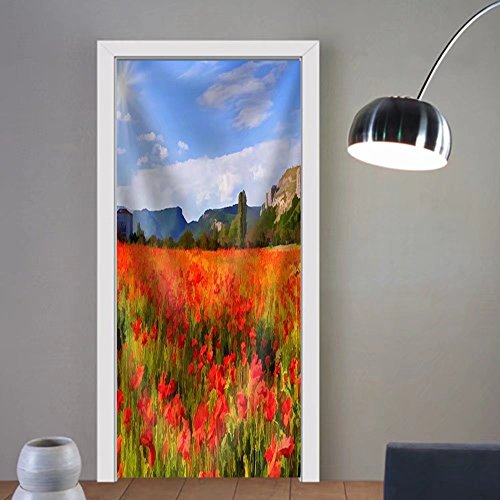 Gzhihine custom made 3d door stickers Digital artwork in watercolor painting style. Colorful autumn morning in the mountains Fabric Home Decor For Room Decor 30x79 by Gzhihine