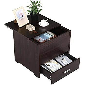Yaheetech Wood Bedside Table Cabinet With Storage Drawer And Sliding Top  Sofa Side End Table Bedroom