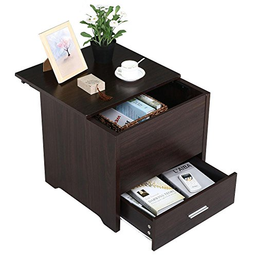 Topeakmart Modern Wood Sofa Side Coffee Table Storage Drawer Bed room Bedside Cabinet Nightstand Furniture Espresso - Bedroom Contemporary Coffee Table