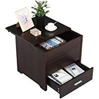 Topeakmart 1-Drawer End Side Table Night Stand/ Accent Table with Storage Box, Espresso