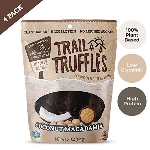 Trail Truffles - Vegan, Paleo Friendly Superfood Protein Balls - Healthy, Plant Based, Gluten Free, Dairy Free, Soy Free, Non-GMO Snacks (Coconut Macadamia, 4 Pack)