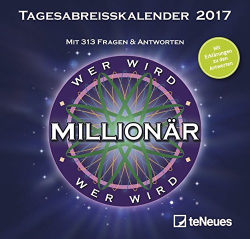 Wer wird Millionär 2017 - Tagesabreisskalender zum Film, Quizkalender mit Tischaufsteller, Wissenskalender - 14,5 x 13,7 cm