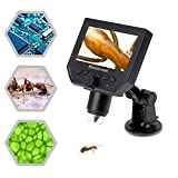 Koolertron 4.3'' LCD Digital USB Microscope magnifier with 1-600X Continuous Magnification Zoom,8 LED Adjustable Light Source,Rechargeable Lithium Battery,Micro-SD Storage,Camera Video Recorder