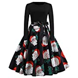 2018 Women's Vintage Christmas Costumes Dress,Ladies Print Round Neck Long Sleeve Evening Party Swing Gown Dress Santa Christmas Xmas Gifts Mini Casual Classic Dress (Red, 12 UK)