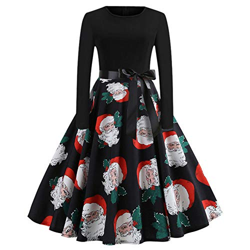 ing Dress Long Sleeve Christmas Dress for Evening Party(Black A,L ()