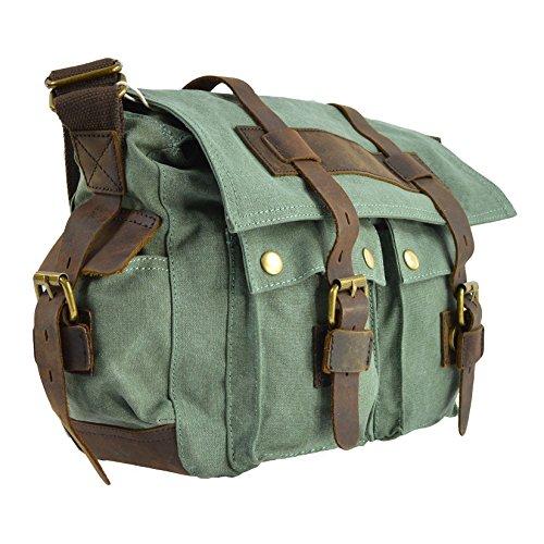 CTM Das Segeltuch -Schulter-Umhängetasche, große Schultergurt und echtes Leder Details 38x24x12 cm Grün