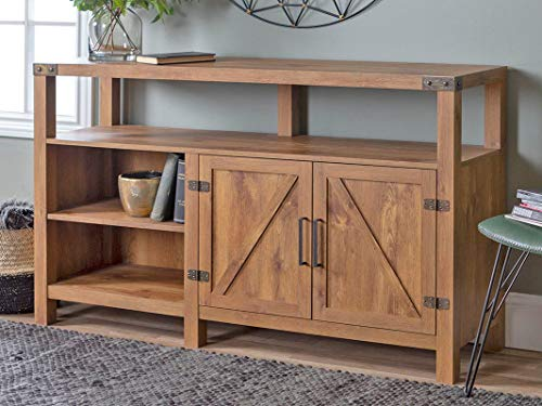 Home Accent Furnishings New 58 Inch Wide Barndoor Highboy Television Stand in Barnwood Finish