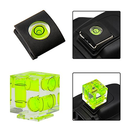 CamRebel Hot Shoe Cover and Three Axis Triple Bubble Spirit Level For Canon and Nikon Digital and Film Cameras (Bubble Level (Triple Level)