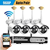 [Auto-Pairing]Security Camera,SMONET 4CH 1080P HD Wireless Network IP Security Camera System Video Surveillance NVR Kits, Four 1.3MP Weatherproof Bullet IP cameras,65ft Night Vision,No HDD Review