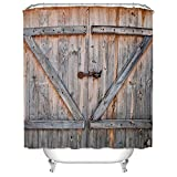 Country Bathroom Decor WAYLONGPLUS Country Decor Old Wooden Garage Door American Country Style Decorations for Bathroom Photography Print Polyester Fabric Shower Curtain Included Rings 60