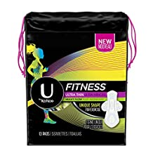 U By Kotex Fitness Ultra Thin Pads with Wings, Heavy Absorbency-Unscented, 13-Count