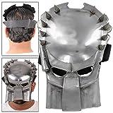 Antiqued Silver Finish Steel Fantasy Predator Armor Battle Mask