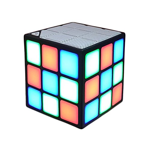 New Wayzon Magic Rubik's Cube Portable LED RGB Light Deep Bass Bluetooth 4.0 Wireless Speakers with Build in Microphone Hands-free Function TF Card Mode(Black)