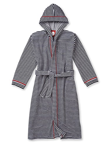 Schiesser Big Girls' Bathrobe Terry Striped Long 16 Years Midnight Blue