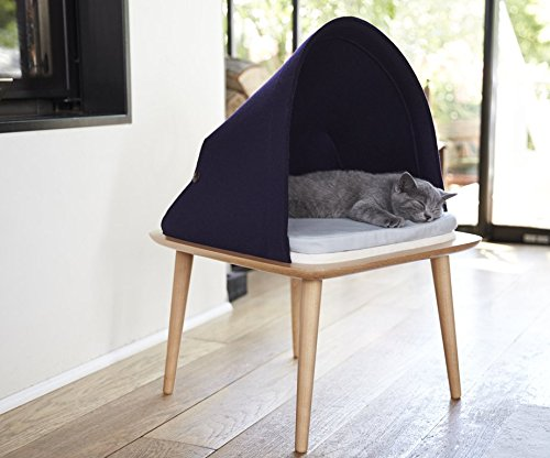 Meyou Paris the BED, bed, cozy shelter and observation post for cats. Indigo felt   2 cushions light bluee and beige