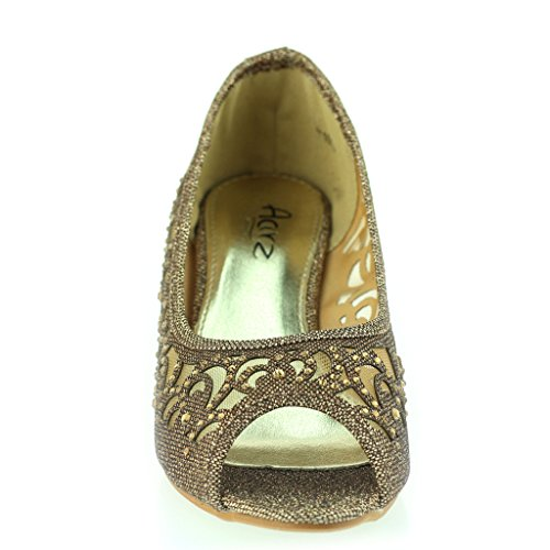 Mujer Señoras Peep Toe Diamante Bajo Tacón de Cuña Noche Fiesta Boda Ponerse Sandalias Zapatos Talla Marrón