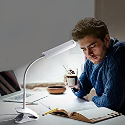 KEDSUM Dimmable Eye-Care LED Desk Lamp (7W,Flexible Gooseneck, 3-Level Dimmer, Touch-Sensitive Control Panel, Clip On Book Light ,White)