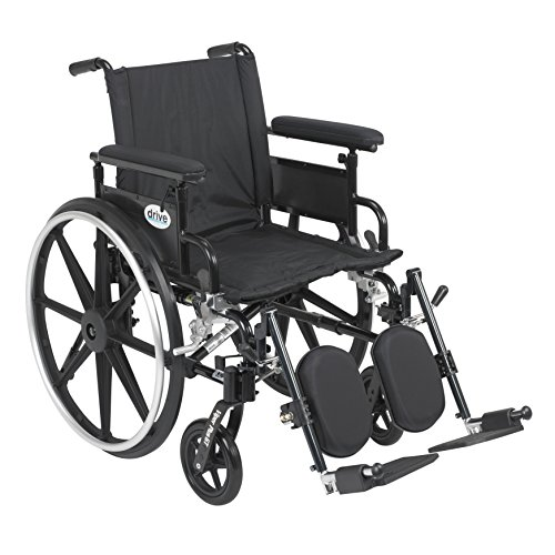 Drive Medical Viper Plus GT Wheelchair with Flip Back Removable Adjustable Full Arms, Swing away Footrests, 18