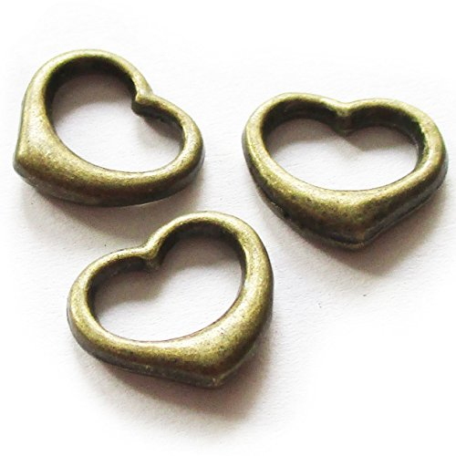 Heather's cf 70 Pieces Brass Tone Heart Close Circle Findings Jewelry Making 13X12mm(U)
