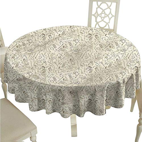 ScottDecor Table Cover Doodle,Painting Easel Notebook Pen Printed Tablecloth Round Tablecloth D 50