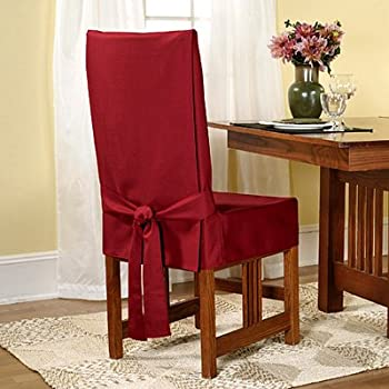 Sure Fit Duck Solid   Shorty Dining Room Chair Slipcover   Claret (SF33881)