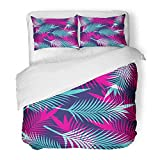 Emvency Bedding Duvet Cover Set Twin (1 Duvet Cover + 1 Pillowcase) Watercolor Exotic Tropical Leaf Pattern Floral Hawaii Hawaiian Highlight Jungle Palm Hotel Quality Wrinkle and Stain Resistant