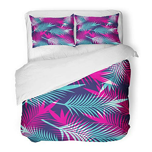 Emvency Bedding Duvet Cover Set Twin (1 Duvet Cover + 1 Pillowcase) Watercolor Exotic Tropical Leaf Pattern Floral Hawaii Hawaiian Highlight Jungle Palm Hotel Quality Wrinkle and Stain Resistant by Emvency