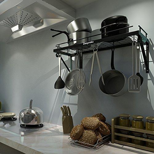 Large Product Image of ZESPROKA Kitchen Wall Pot Pan Rack,With 10 Hooks,Black