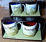 Starbucks Demitasse , Athens-Greece, Romania-Bucharest, 4 Mini Espresso Mugs, 3 OZ ,Made In Thailand
