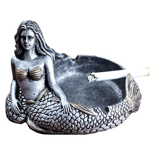 MCpinky Creative Ashtray, Mermaid Ashtray Vintage Cigar Ash Tray Home Decor Bar Smokers(Silver)
