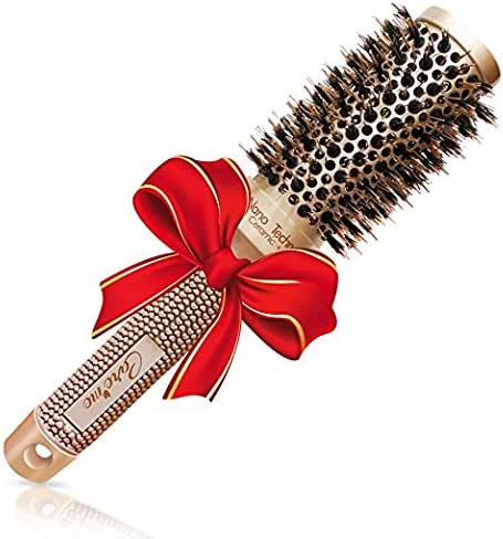 Blow-dry Round brush with Natural Boar Bristles for Salon-Like Blowouts | Curling - Best Volume Brush for Short Hair or Want Bounce Stylish Curls (1.3