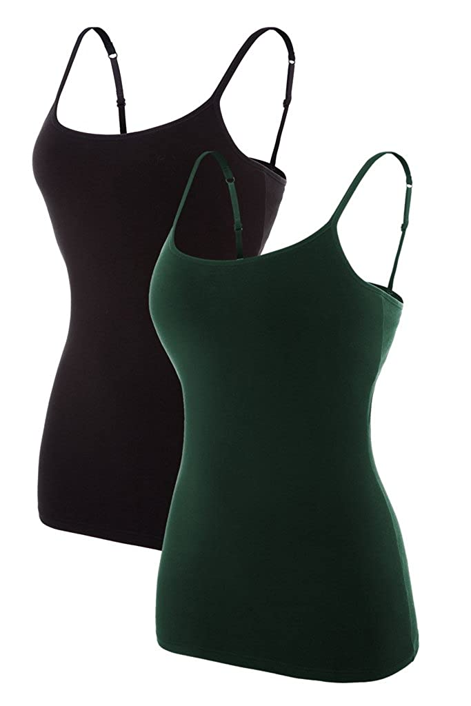 maysoul Women Cotton Camisole Non-Padded Shelf Bra Tank Tops Active Camis 2 Pack