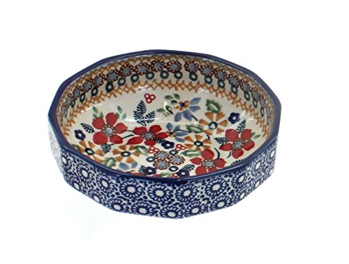 Angular Bowl - Blue Rose Polish Pottery Red Daisy Small Angular Bowl