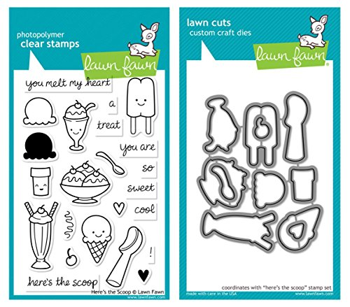 - Lawn Fawn - Here's the Scoop - Clear Stamp and Die Set