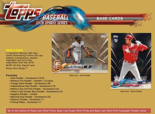 Amazon.com: 2018 Topps Update Baseball Blaster Case (16 Boxes/10 Packs/10 Cards/Patch Card): Collectibles & Fine Art