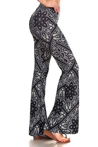 SATINA High Waisted Flare Palazzo Pants | PRINTED & SOLID | REGULAR & PLUS Size (Large, Handkerchief Navy)