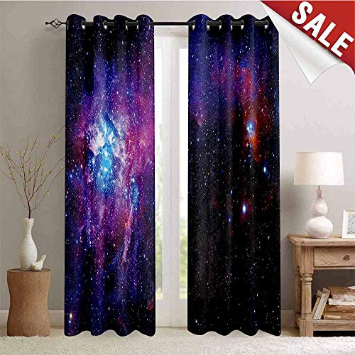 (Galaxy 3D Printed Pattern Gromets Curtain Living Room Drapes, Starry Night Nebula Cloud Celestial Theme Image Space Art Elements Print Indoor Darkening Curtains, Black Purple Blue, W96 x L84 Inches)