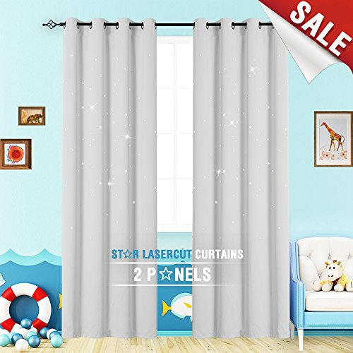 Nursery Blackout Curtains for Living Room 84 inch Length Grommet Top Curtain Panels Thermal Insulated Curtains White Star Cut Out Kids Room Darkening Draperies for Bedroom Window Curtains 1 Pair