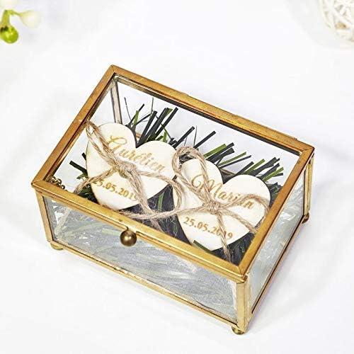 Caja rectangular de cobre para joyas, caja de anillo de boda, de ...
