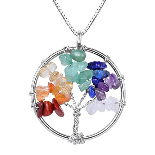 BOUTIQUELOVIN Tree of Life Wire Wrap 7 Chakra Nature Healing Crystal Pendant Necklace for Teens Girls Women