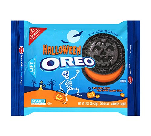 Oreo Halloween Orange Colored Crème Chocolate Sandwich Cookies 15.35oz , pack of 1