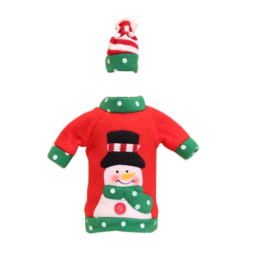 Monbedos Christmas Cartoon Santa Snowman Elk sacchetto di vino e champagne vino bag Christmas day decorazione della tavola Colorful a