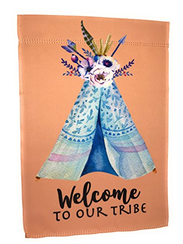 Lantern Hill Garden Flag 12 inches by 18 inches Double Sided Reads Correctly Both Sides (Welcome to Our Tribe Boho (Garden Teepee)