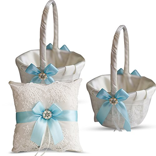 Alex Emotions Ivory Ring Bearer Pillow and Basket Set | Lace Collection | Flower Girl & Welcome Basket for Guest | Handmade Wedding Baskets & Pillows (Sky Blue) ()