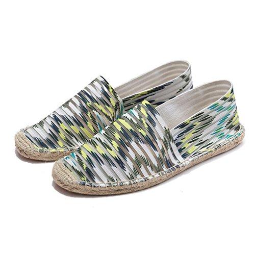 Righe Verde Donne Chiusa Pantofole Espadrillas Basse Punta Unisex Outdoor a on Slip Traspirante Jitong Mocassini qZX8Owx6W